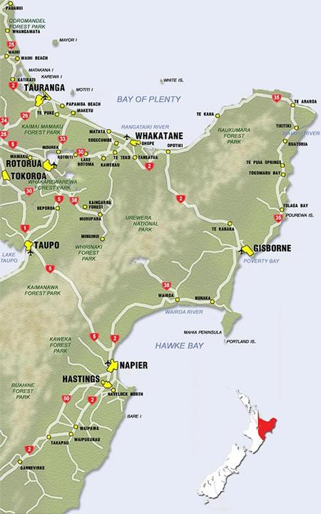 Map Of New Zealand Towns.New Zealand Region Maps Bay Of Plenty