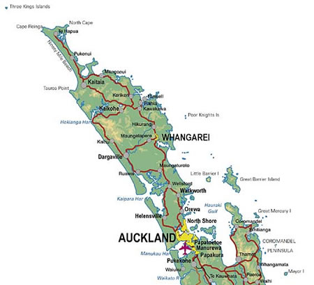New Zealand Northland Map Detailed.New Zealand Accommodation Shopping Entertainment And Tourism Guides