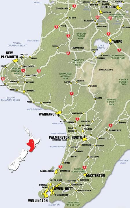 Taupo New Zealand Map.New Zealand Region Maps Taupo