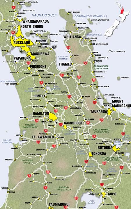 Waikato New Zealand Map.New Zealand Region Maps Waikato